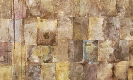 Kollaasi, akryyli- ja öljyväri levylle, 122×122 cm