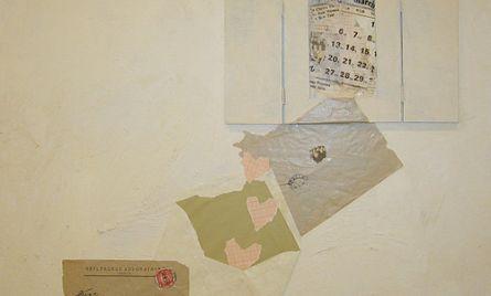 Kollaasi ja akryyli levylle, 61×61 cm