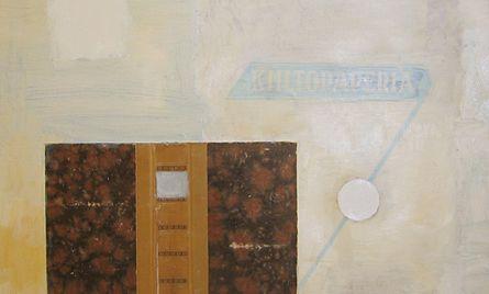 Kollaasi, akryyli- ja öljyväri levylle, 61×61 cm